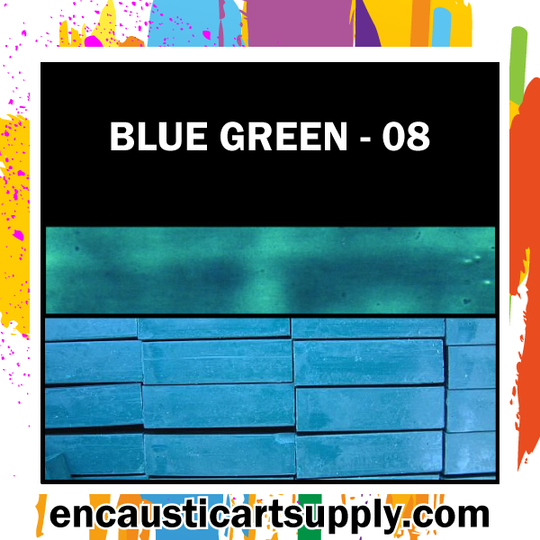 Encaustic Art Wax Blocks 16 pcs - Blue green