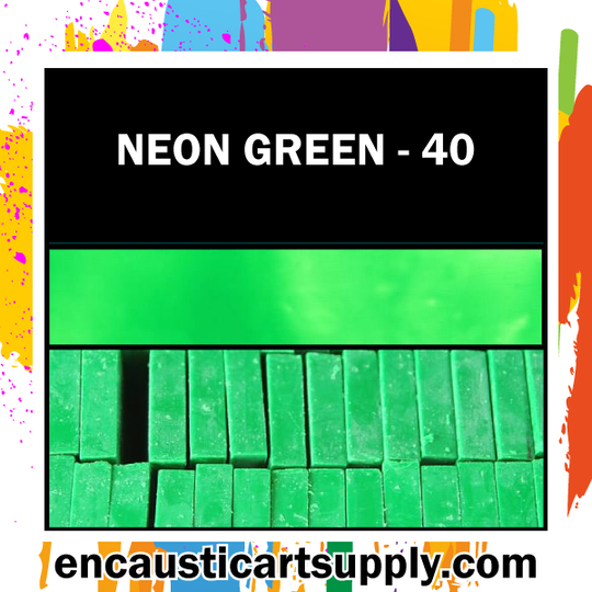 Encaustic Art Wax Blocks 16 pcs - Neon green