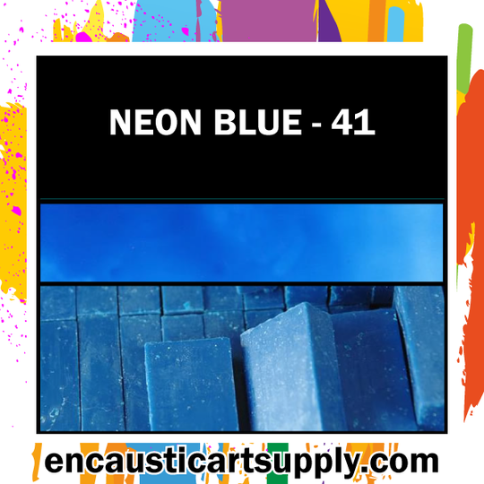 Encaustic Art Wax Blocks 16 pcs - Neon blue