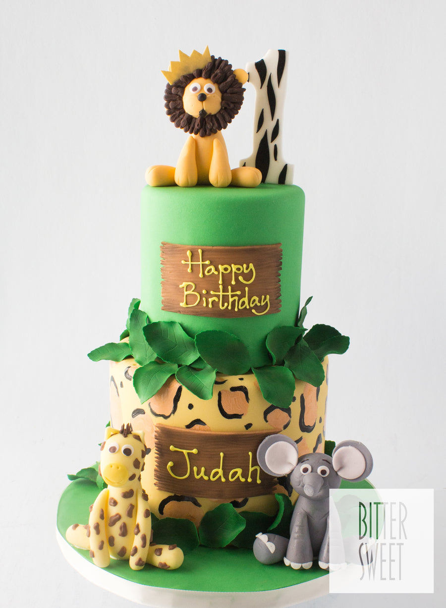Tiered Jungle Babies Cake