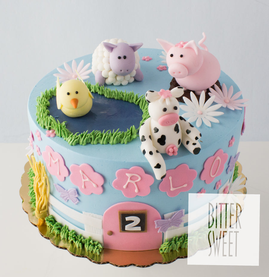 Baby Farm Animals Cake