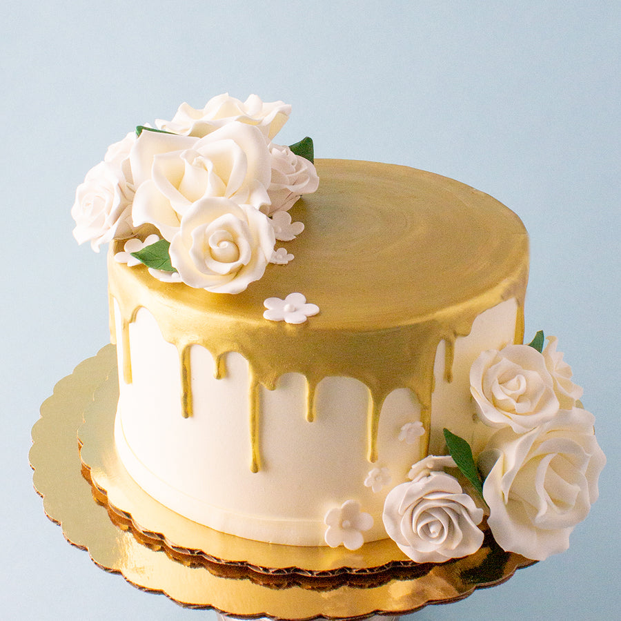 Gold Drip Cake with Sugar Flowers