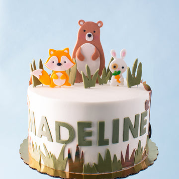 Simple Woodland Creatures Cake