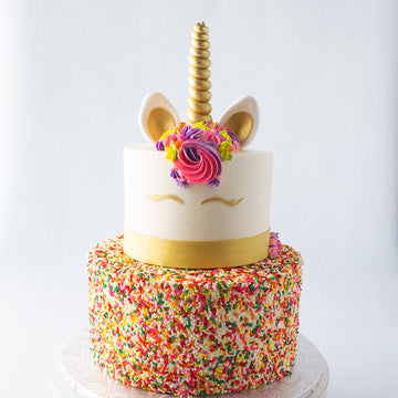 Tiered Rainbow Sprinkle Unicorn Cake