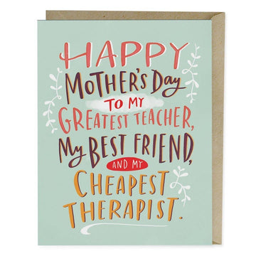 Cheapest Therapist Mother's Day Card