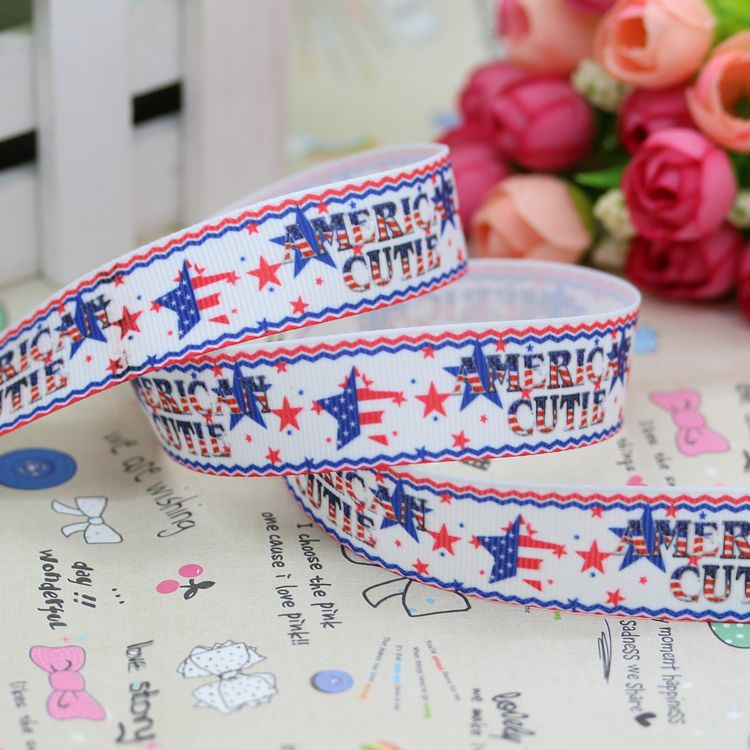 7/8'' Free shipping usa 4th of july printed grosgrain ribbon hairbow party decoration diy wholesale OEM 22mm P2734
