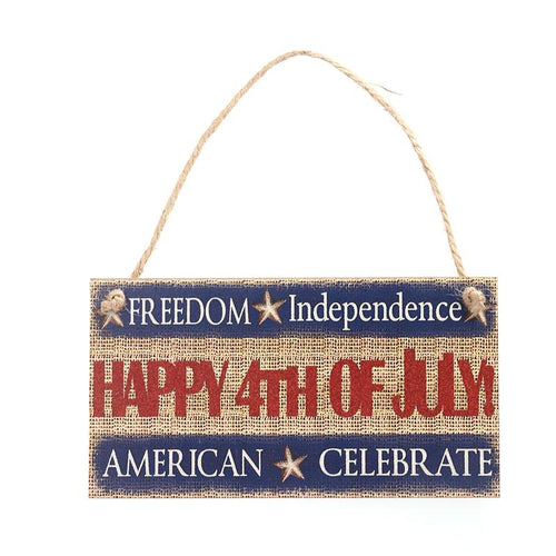 HAPPY 4TH OF JUL Hanging Sign Decoration Fiberboard
