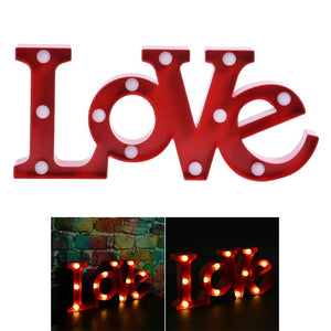 3D LOVE Marquee Sign Night Lights Romantic Wall Lamps