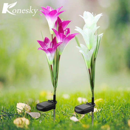 2pcs 4 LED solar powered lawn Lily lights waterproof IP 65 Flower Decoration for home Garden Landscape Lawn