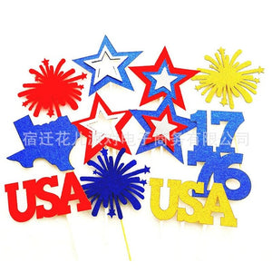 4th Of July Favors Stars Cupcake Toppers