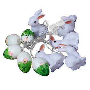 10 LED Battery Operated Easter Rabbit and Egg Shape String Lights