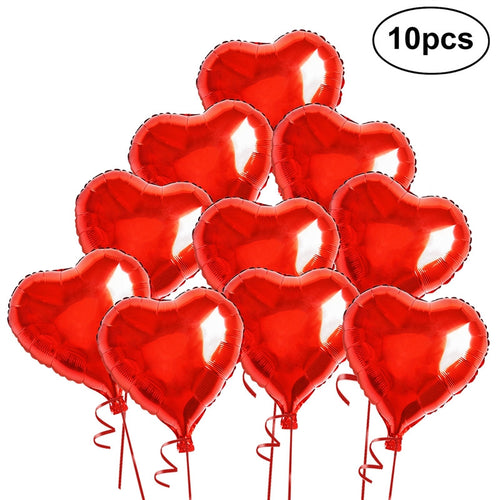 10 Red Heart Foil Helium Balloons with Ropes