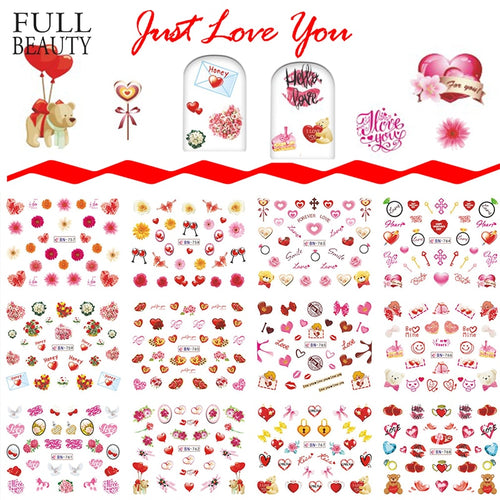 Full Beauty 12 Designs Decals Gel Polish Water Tips CHBN757-768