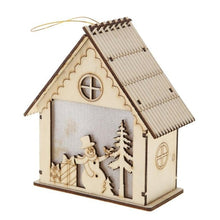 Load image into Gallery viewer, LED Light Wood House Christmas Tree Hanging Ornaments