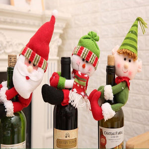 Christmas Wine Bottle Cover Holder in Santa Snowman and Elf for Home & Kitchen Holiday Party Table Decorations