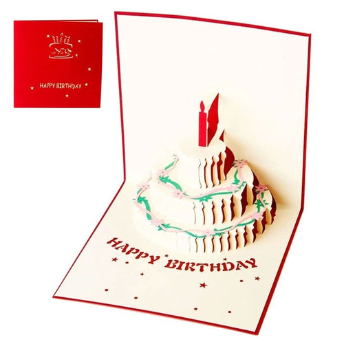 1 pcs 3D Pop Up Greeting Card Handmade Happy Birthday Easter Valentines Day