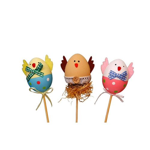 3PCS Funny Chick Design Plastic Coloring Painted Easter Eggs With Sticks