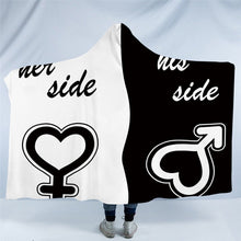 Load image into Gallery viewer, His & Her Side Hooded Blanket for Couple Sherpa Fleece Wearable