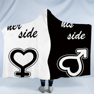 His & Her Side Hooded Blanket for Couple Sherpa Fleece Wearable