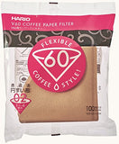 Hario VCF-02-100M v60 Cone Paper Coffee Filters - Natural Tabbed