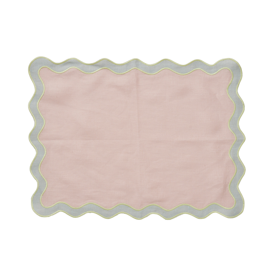 Pale Pink and Seafoam Scalloped Edge Placemat - set of 4