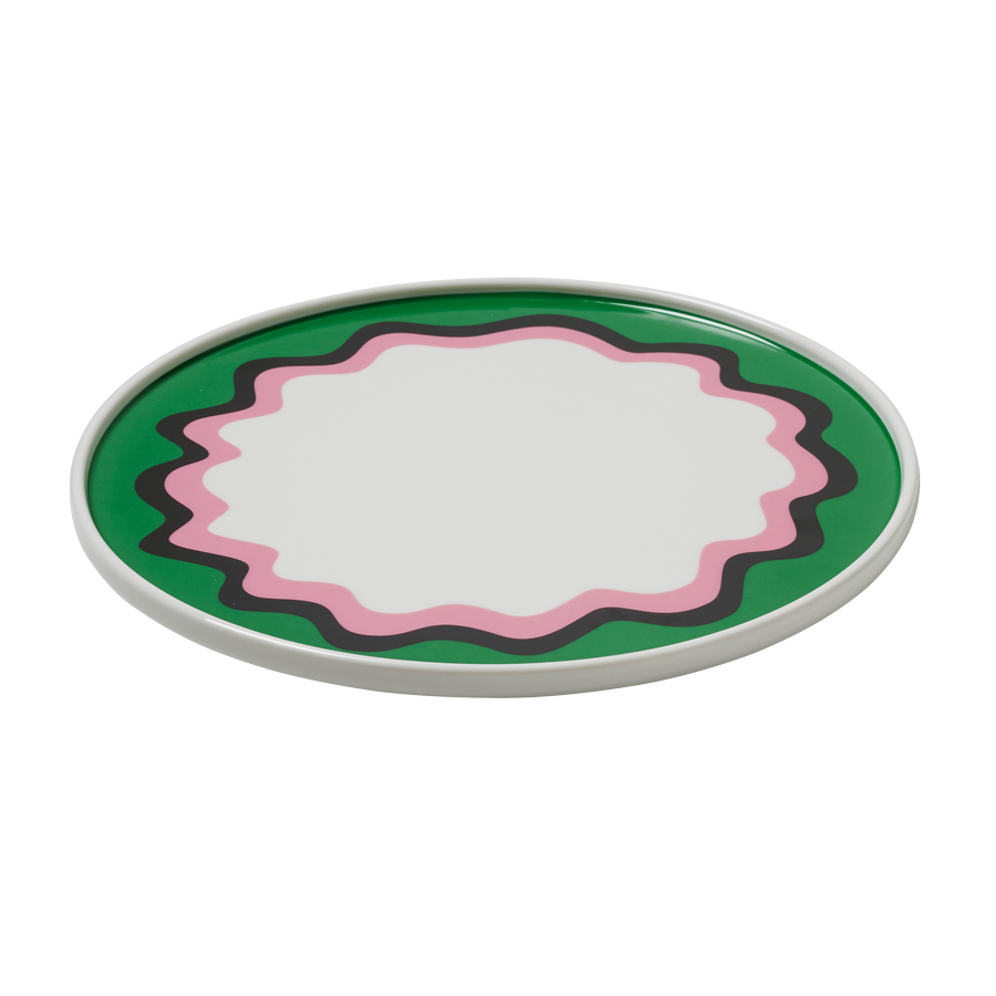 Green and Pink Wave Border Plate