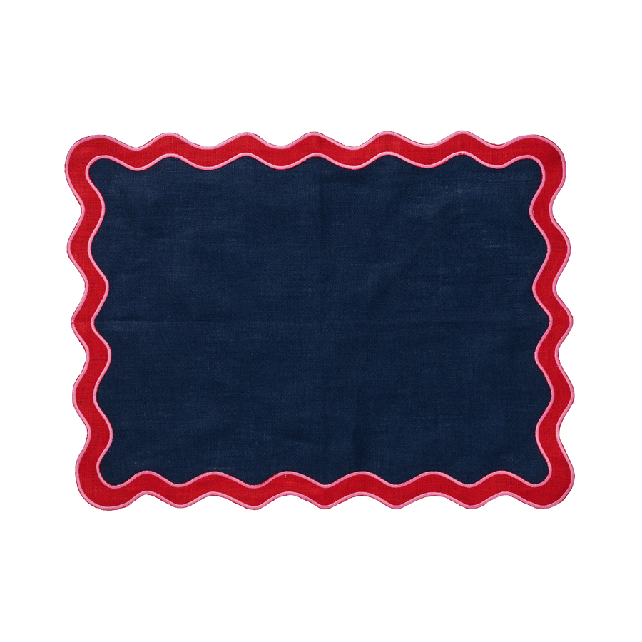 Navy and Red Scalloped Edge Placemat - Set of 4