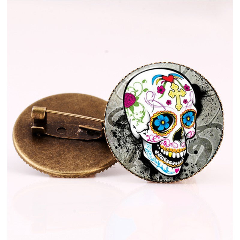 Yellow Cross Sugar Skull Brooch.