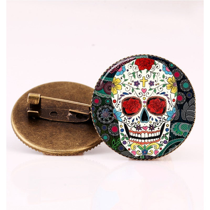 Red Roses Sugar Skull Brooch.