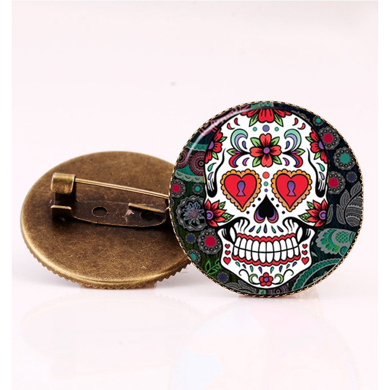 Hearts Sugar Skull Brooch.