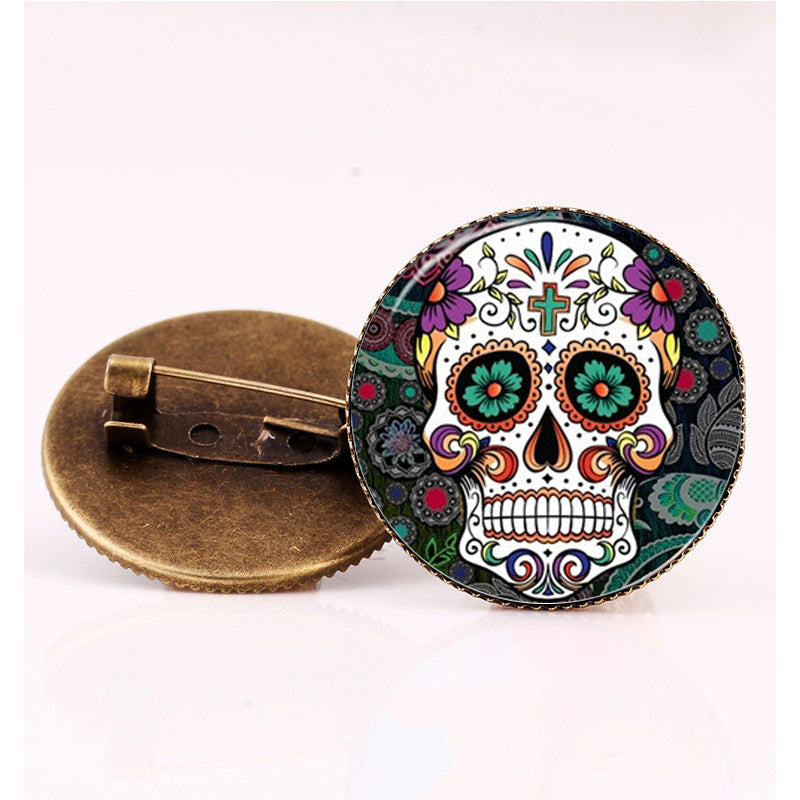 Green Cross Sugar Skull Brooch.