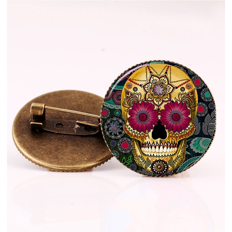 Flowers Sugar Skull Brooch.
