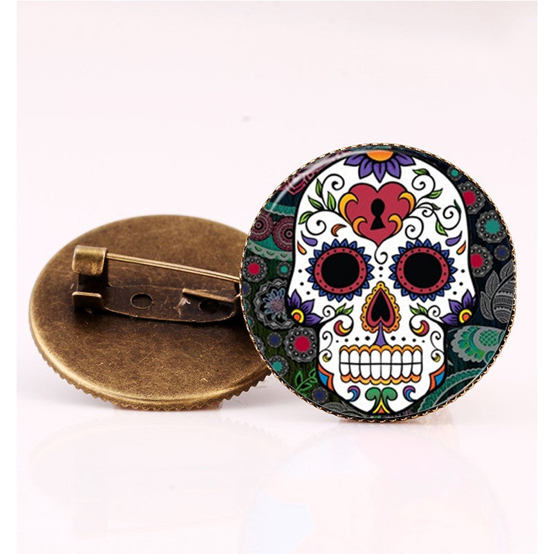 Heart Lock Sugar Skull Brooch.