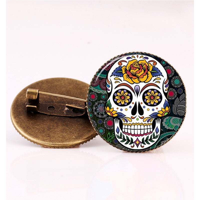 Yellow Rose Sugar Skull Brooch.