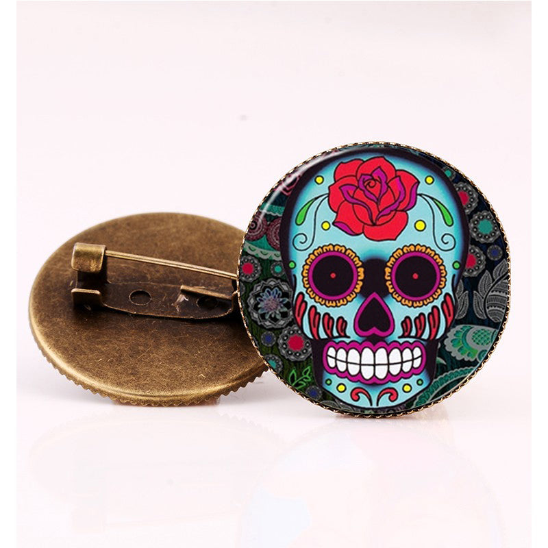 Big Red Rose Sugar Skull Brooch.
