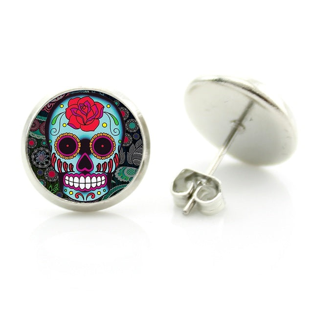 Big Red Rose Sugar Skull Stud Earring.