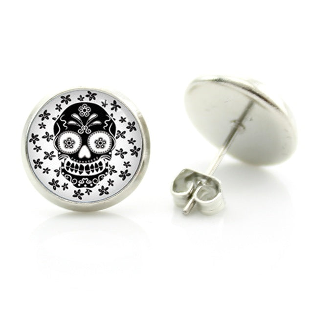 Black On White Sugar Skull Stud Earring.