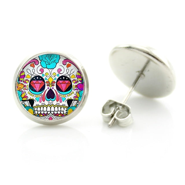 Pink Diamond Eyes Sugar Skull Stud Earring.