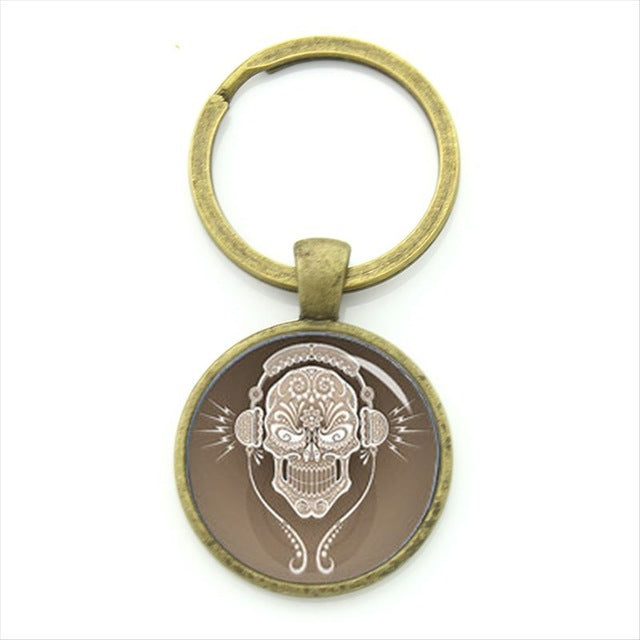 Brown DJ Sugar Skull Keychain.