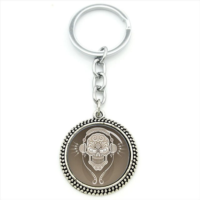Brown DJ Sugar Skull Chain Keychain.
