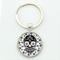 Black On White Sugar Skull Keychain.