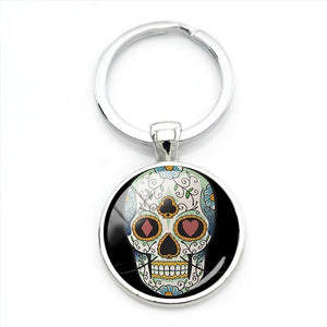 Card Pattern Sugar Skull Keychain.