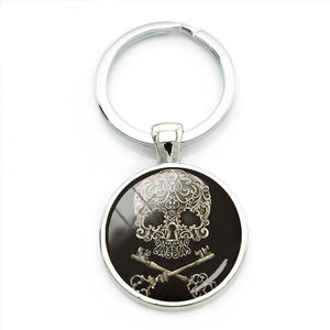 Two Keys Sugar Skull Keychain.