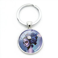 Blue Flowers Sugar Skull Keychain.