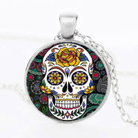 Yellow Rose Sugar Skull Necklace.