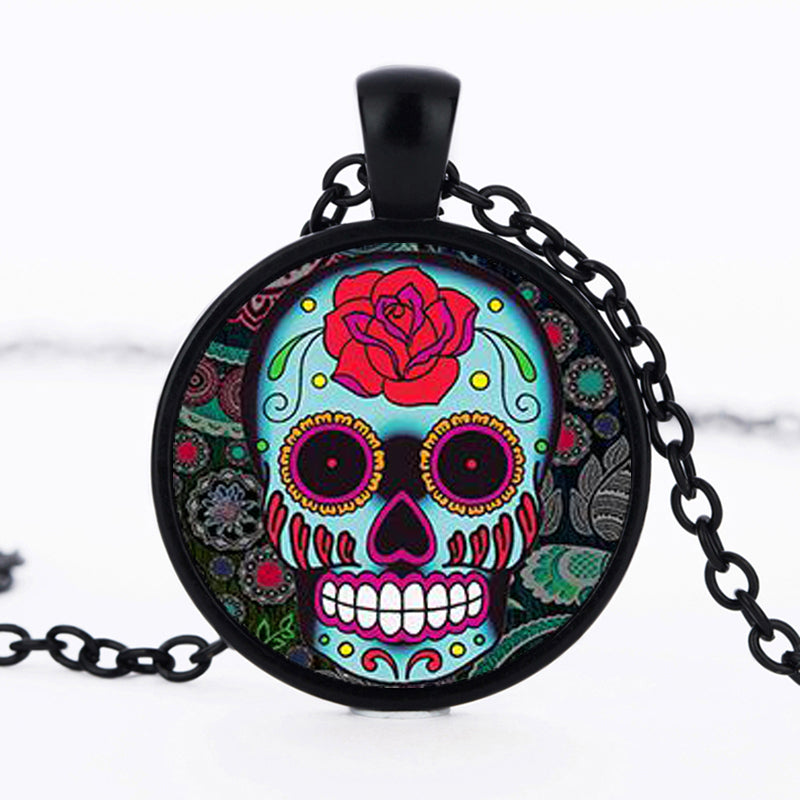 Big Red Rose Sugar Skull Necklace.