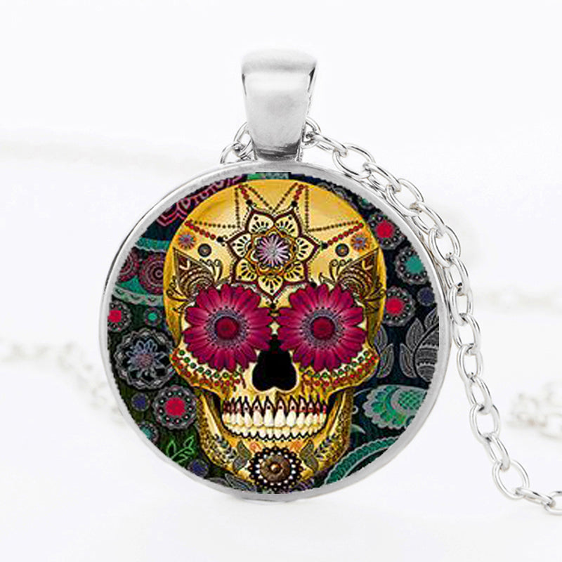 Flowers Sugar Skull Necklace.