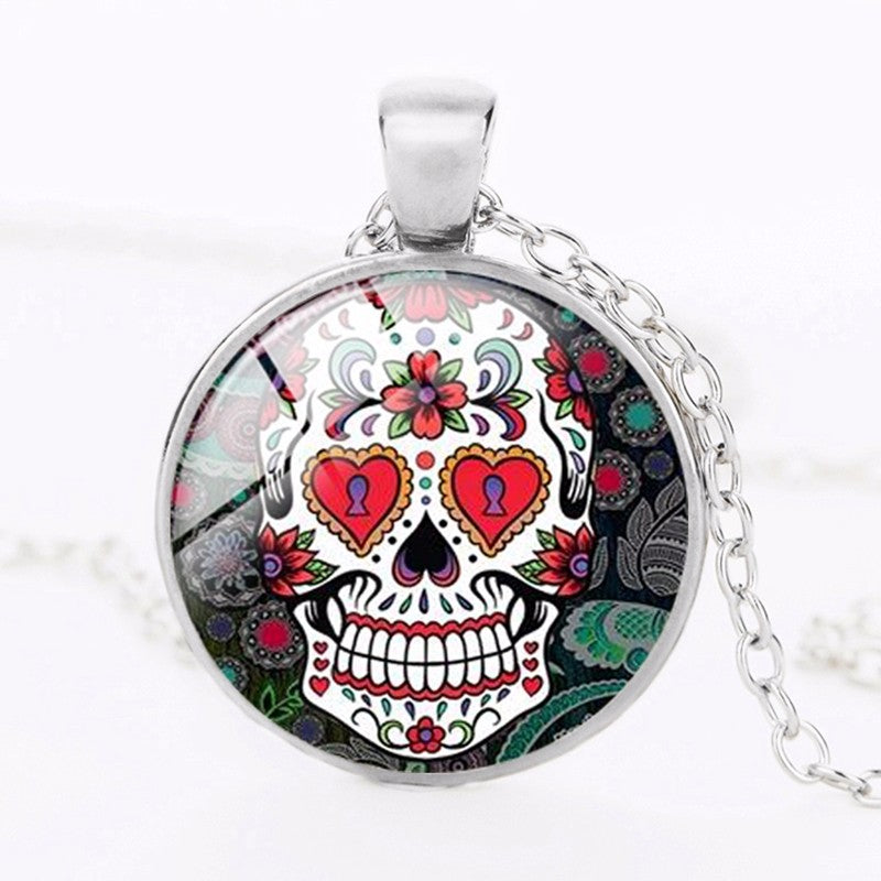 Hearts Sugar Skull Necklace.
