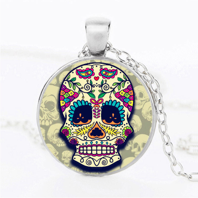 Lava Eyes Sugar Skull Necklace.