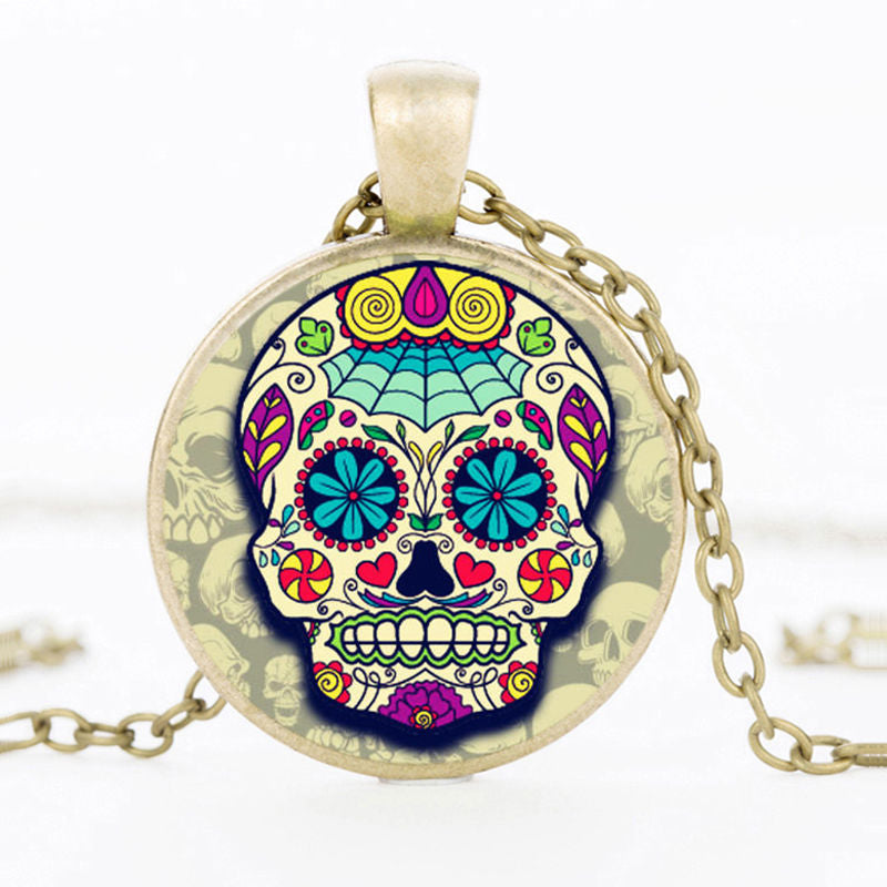 Spiderweb Forehead Sugar Skull Necklace.
